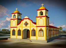 Vizualizácia nového kostola, ktorého výstavba práve prebieha